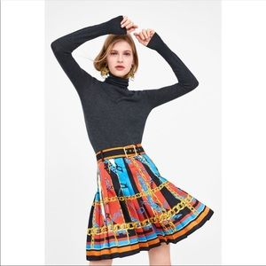Zara Chain Pattern Print Pleated Skirt with Belt S